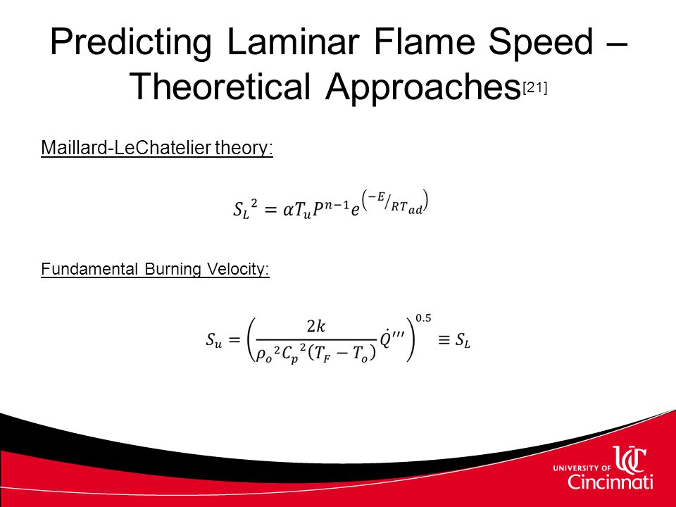 Predicting Laminar Flame Speed – Theoretical Approaches[21]